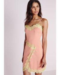 Missguided Lime Lace Trim Bodycon Dress Nude pink - Lyst