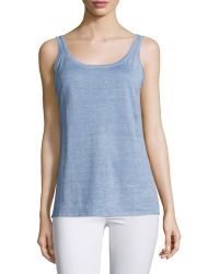 Belford - Sleeveless Delave Linen Tank Top - Lyst