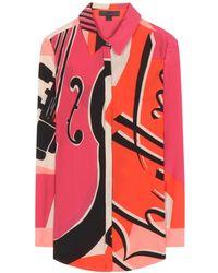 Burberry Prorsum Printed Silk Shirt - Lyst