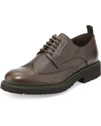 Bruno Magli Salone Pebbled Leather Lace-Up Wingtip brown - Lyst