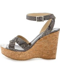 Jimmy Choo Papyrus Snakeprint Cork Wedge - Lyst