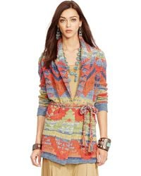 Polo Ralph Lauren Hand-Knit Belted Cardigan - Lyst