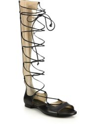 Michael Kors | Birdie Leather Lace-up Gladiator Sandals | Lyst