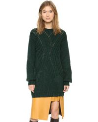 Thakoon Crew Neck Tunic Sweater Forest - Lyst
