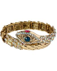 Betsey Johnson Crystallized Snake Wrap Bracelet - Lyst