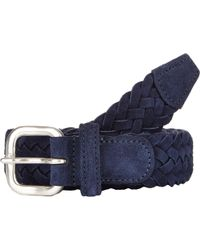 Barneys New York Leather Suede Braided Belt blue - Lyst