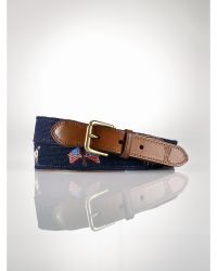 Polo Ralph Lauren Blue Needlepoint Belt - Lyst
