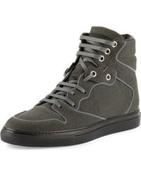 Balenciaga Flocked Goatskin High-top Sneaker - Lyst