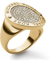 Michael Kors Goldtone Logo Ring with Crystal Pavã Disc - Lyst