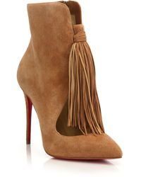 Christian Louboutin | Fringed Suede Booties | Lyst
