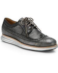 Cole Haan Lunargrand Metallic Leather Wingtip Derby Shoes - Lyst