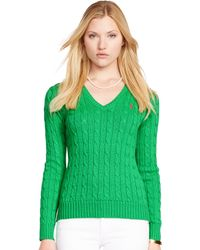 Polo Ralph Lauren Cabled Cotton V-Neck Sweater - Lyst
