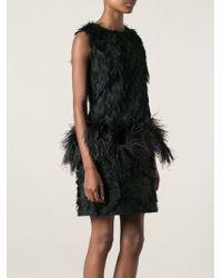 Lanvin Black Feather Dress - Lyst