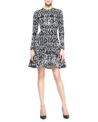 Lela Rose Reversible Longsleeve Geometric Stretch Dress Blackivory - Lyst