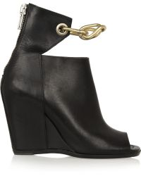 Rick Owens Chaintrimmed Leather Wedge Sandals - Lyst