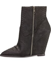 Ash Julie Snake-print Leather Wedge Bootie - Lyst