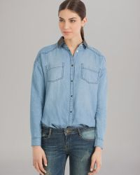 Maje Shirt Faux Leather Collar Denim - Lyst