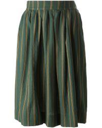 Yves Saint Laurent Vintage Striped Skirt green - Lyst