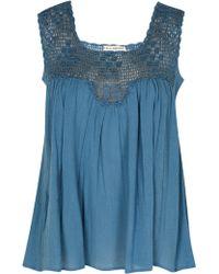 Ulla Johnson Hand Crochet Gauze Mari Top blue - Lyst