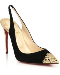 Christian Louboutin Glittered-Heel Suede Slingback Pumps black - Lyst