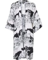 Topshop Womens Wolf Moon Duster Kimono  Monochrome - Lyst