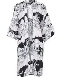 Topshop Womens Wolf Moon Duster Kimono  Monochrome - Lyst