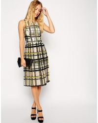 Asos Midi Skater Dress With Pleated Skirt In Check Print - Lyst