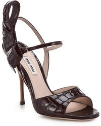 Miu Miu Stamped Coco Croc-Embossed Patent Leather Bow Sandals - Lyst