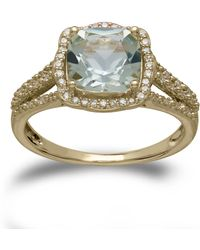 Lord & Taylor - 14kt. Yellow Gold Green Amethyst And Diamond Ring - Lyst