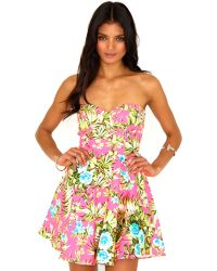 Missguided Starr Tropical Bustier Skater Dress - Lyst