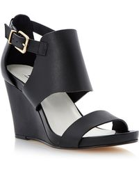 Dune Givara Leather Wedge Buckle Sandals - Lyst