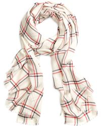 Brooks Brothers White Windowpane Scarf - Lyst