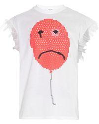 Julien David Balloon-Print Ruffle-Sleeve T-Shirt - Lyst