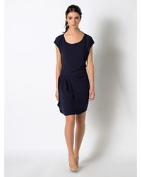 Patrizia Pepe Short Draped Dress In Flowing Japanese Viscose - Lyst