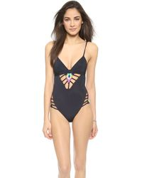 Mara Hoffman Beaded Lattice One Piece Swimsuit - Black - Lyst