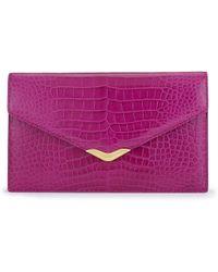 Ralph Lauren Alligator Envelope Clutch purple - Lyst