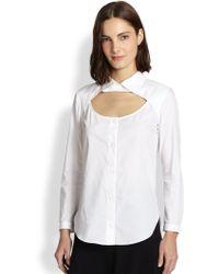 Carven Cutout Cotton Shirt - Lyst