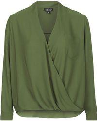 Topshop Drape Front Blouse - Lyst