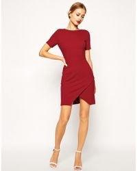 Asos Rib Stepped Hem Dress with Zip Detail - Lyst