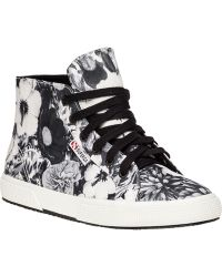 Superga Black And White Floral Print Sneaker black - Lyst