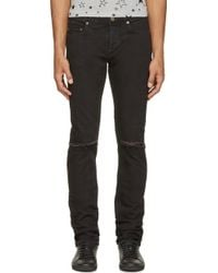 Saint Laurent Black Slim Sliced_Knee Jeans - Lyst
