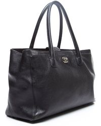Chanel Preowned Black Caviar Leather Executive Cerf Tote - Lyst