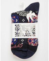 Ruby Rocks - 3 Pk Ladies Socks Black Pattern - Lyst