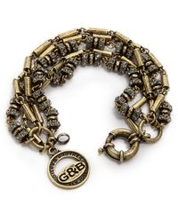 Giles & Brother Pave Bundle Bracelet Antique Brassblack Diamond - Lyst