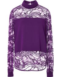 Elie Saab Stretch Cady and Lace Shirt - Lyst