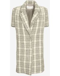 Yigal Azrouel Sweater Sleeve Plaid Coat - Lyst