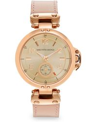 Saks Fifth Avenue - Rose Goldtone-finished Stainless Steel Strap Watch - Lyst