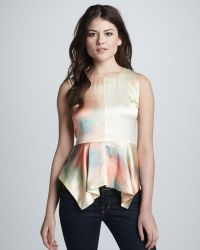 Elizabeth And James Yumi Watercolor Peplum Top - Lyst