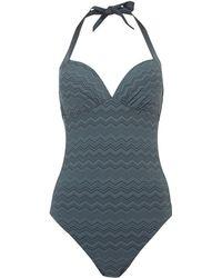 Linea Weekend - Zig Zag Halter Neck Swimsuit - Lyst