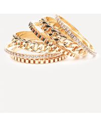Bebe - Crystal & Chain Bangle Set - Lyst